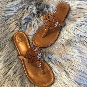 Tory Burch Miller Logo Leather Sandal Vachetta 8.5